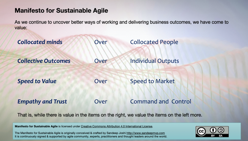 Manifesto for Sustainable Agile